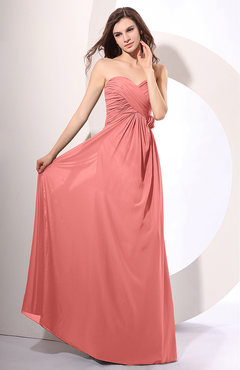 Coral Simple Sheath Sweetheart Sleeveless Chiffon Floor Length Party Dresses