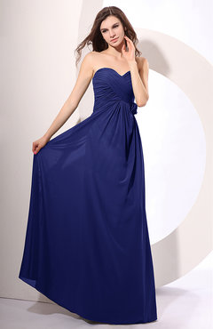 Electric Blue Simple Sheath Sweetheart Sleeveless Chiffon Floor Length Party Dresses
