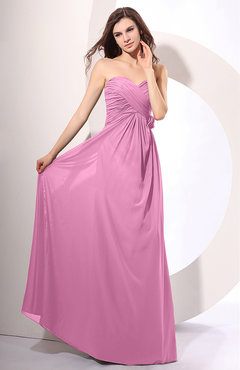 Pink Simple Sheath Sweetheart Sleeveless Chiffon Floor Length Party Dresses