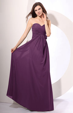 Raspberry Simple Sheath Sweetheart Sleeveless Chiffon Floor Length Party Dresses