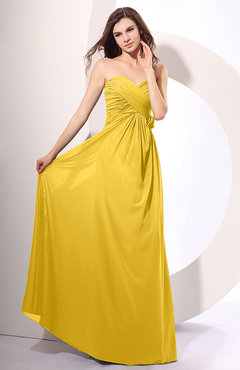 Yellow Simple Sheath Sweetheart Sleeveless Chiffon Floor Length Party Dresses