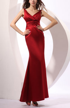 Burgundy Traditional Trumpet V-neck Sleeveless Elastic Woven Satin Party Dresses