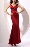 Traditional Trumpet V-neck Sleeveless Elastic Woven Satin Party Dresses