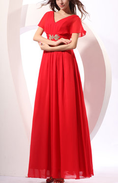 Red Mormon Short Sleeve Zipper Chiffon Floor Length Wedding Guest Dresses