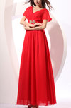 Mormon Short Sleeve Zipper Chiffon Floor Length Wedding Guest Dresses