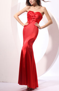 Red Plain Sweetheart Sleeveless Elastic Woven Satin Floor Length Bridesmaid Dresses