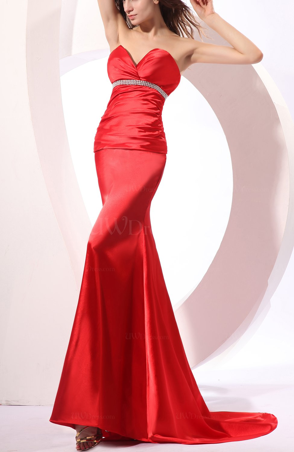 Red sexy column sleeveless backless court train wedding for Backless wedding guest dresses