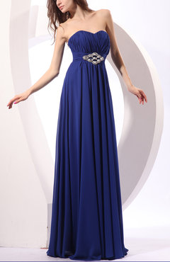 Electric Blue Elegant Sleeveless Zip up Floor Length Pleated Wedding Guest Dresses