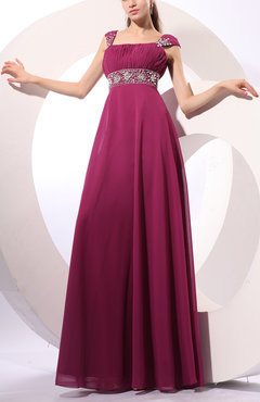 Raspberry Traditional Wide Square Zip up Chiffon Floor Length Pleated Party Dresses