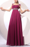 Traditional Wide Square Zip up Chiffon Floor Length Pleated Party Dresses