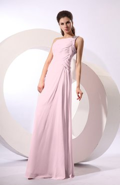 Blush Fairytale Sheath Zipper Floor Length Rhinestone Bridesmaid Dresses
