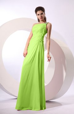 Bright Green Fairytale Sheath Zipper Floor Length Rhinestone Bridesmaid Dresses