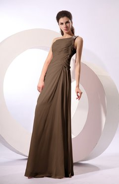 Brown Fairytale Sheath Zipper Floor Length Rhinestone Bridesmaid Dresses