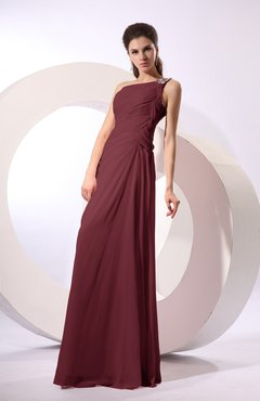 Burgundy Fairytale Sheath Zipper Floor Length Rhinestone Bridesmaid Dresses