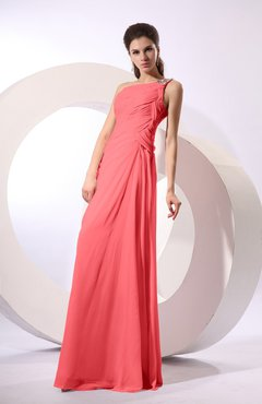 Coral Fairytale Sheath Zipper Floor Length Rhinestone Bridesmaid Dresses