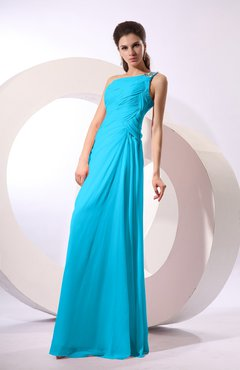 Cornflower Blue Fairytale Sheath Zipper Floor Length Rhinestone Bridesmaid Dresses