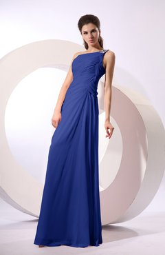 Electric Blue Fairytale Sheath Zipper Floor Length Rhinestone Bridesmaid Dresses
