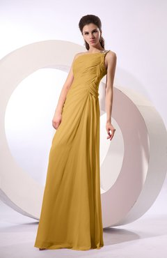 Gold Fairytale Sheath Zipper Floor Length Rhinestone Bridesmaid Dresses