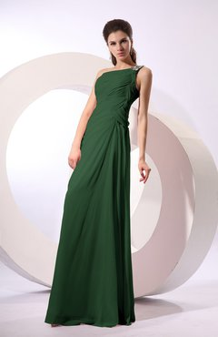 Hunter Green Fairytale Sheath Zipper Floor Length Rhinestone Bridesmaid Dresses