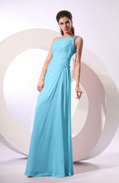 Light Blue Fairytale Sheath Zipper Floor Length Rhinestone Bridesmaid Dresses