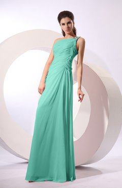 Mint Green Fairytale Sheath Zipper Floor Length Rhinestone Bridesmaid Dresses