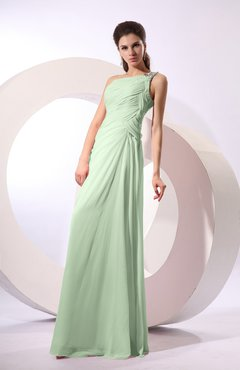 Pale Green Fairytale Sheath Zipper Floor Length Rhinestone Bridesmaid Dresses
