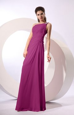Raspberry Fairytale Sheath Zipper Floor Length Rhinestone Bridesmaid Dresses