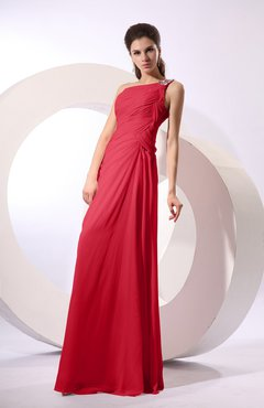 Red Fairytale Sheath Zipper Floor Length Rhinestone Bridesmaid Dresses