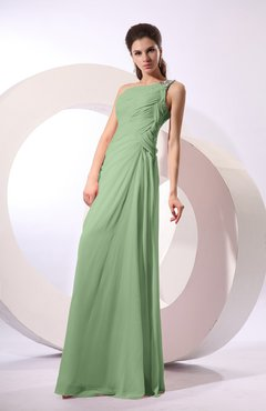Sage Green Fairytale Sheath Zipper Floor Length Rhinestone Bridesmaid Dresses