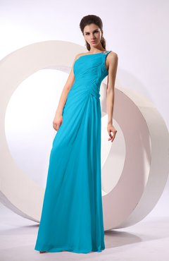 Teal Fairytale Sheath Zipper Floor Length Rhinestone Bridesmaid Dresses