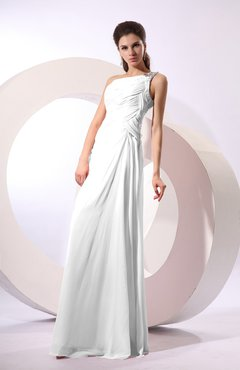 White Fairytale Sheath Zipper Floor Length Rhinestone Bridesmaid Dresses