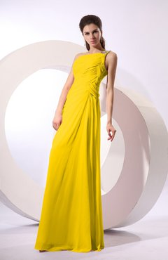 Yellow Fairytale Sheath Zipper Floor Length Rhinestone Bridesmaid Dresses