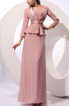 Dusty Rose Mature Sheath One Shoulder Zip up Chiffon Sash Wedding Guest Dresses