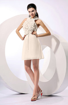 Cream Informal A-line Sleeveless Backless Chiffon Flower Homecoming Dresses