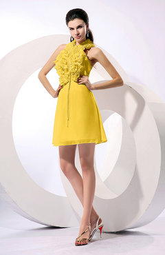 Yellow Informal A-line Sleeveless Backless Chiffon Flower Homecoming Dresses