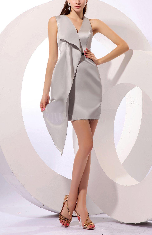 Silver sexy sleeveless zip up satin mini ribbon wedding for Sexy wedding guest dress