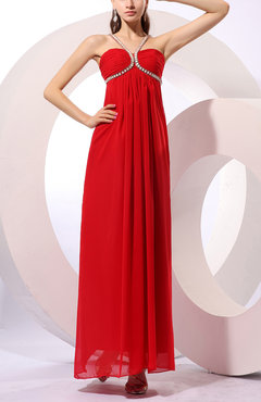 Red Gorgeous V-neck Sleeveless Chiffon Floor Length Homecoming Dresses
