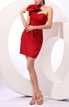 Red Hawaiian Column One Shoulder Taffeta Short Ruching Little Black Dresses