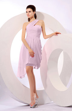 Baby Pink Plain A-line Asymmetric Neckline Sleeveless Chiffon Ruching Cocktail Dresses