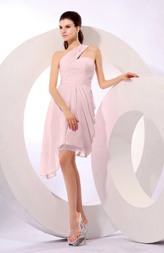 Blush Plain A-line Asymmetric Neckline Sleeveless Chiffon Ruching Cocktail Dresses