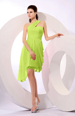 Bright Green Plain A-line Asymmetric Neckline Sleeveless Chiffon Ruching Cocktail Dresses
