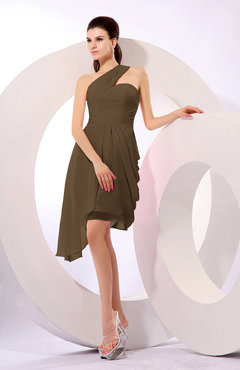 Brown Plain A-line Asymmetric Neckline Sleeveless Chiffon Ruching Cocktail Dresses