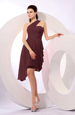 Burgundy Plain A-line Asymmetric Neckline Sleeveless Chiffon Ruching Cocktail Dresses