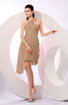 Burnt Orange Plain A-line Asymmetric Neckline Sleeveless Chiffon Ruching Cocktail Dresses