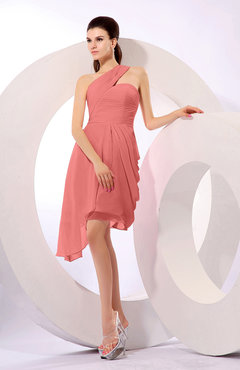 Coral Plain A-line Asymmetric Neckline Sleeveless Chiffon Ruching Cocktail Dresses