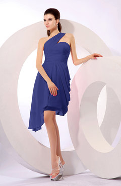 Electric Blue Plain A-line Asymmetric Neckline Sleeveless Chiffon Ruching Cocktail Dresses