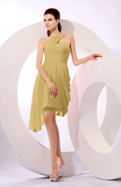 Gold Plain A-line Asymmetric Neckline Sleeveless Chiffon Ruching Cocktail Dresses