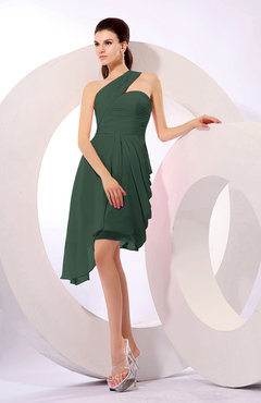 Hunter Green Plain A-line Asymmetric Neckline Sleeveless Chiffon Ruching Cocktail Dresses