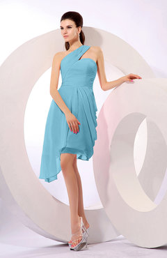Light Blue Plain A-line Asymmetric Neckline Sleeveless Chiffon Ruching Cocktail Dresses
