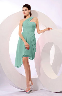 Mint Green Plain A-line Asymmetric Neckline Sleeveless Chiffon Ruching Cocktail Dresses